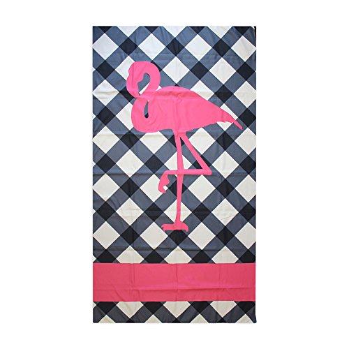 Navy Blue Hot Pink Flamingo 40 x 70 Inch Microfiber Ultra Thin Large Beach Towel