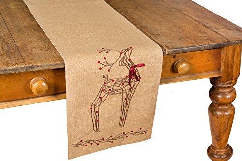 Xia Home Fashions Rustic Reindeer Jute Christmas Table Runner, 13 by 108