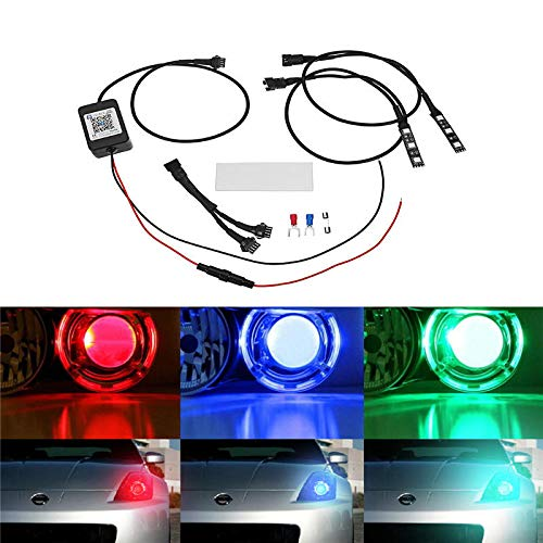 Pair Bluetooth APP Control 5050 LED Demon/Angel Eyes Lights for Offroad Headlight Retrofit - Car Lights Angel Eyes Lights -2 X RGB LED Demon Eyes Lights, 1 X Spare Fuse