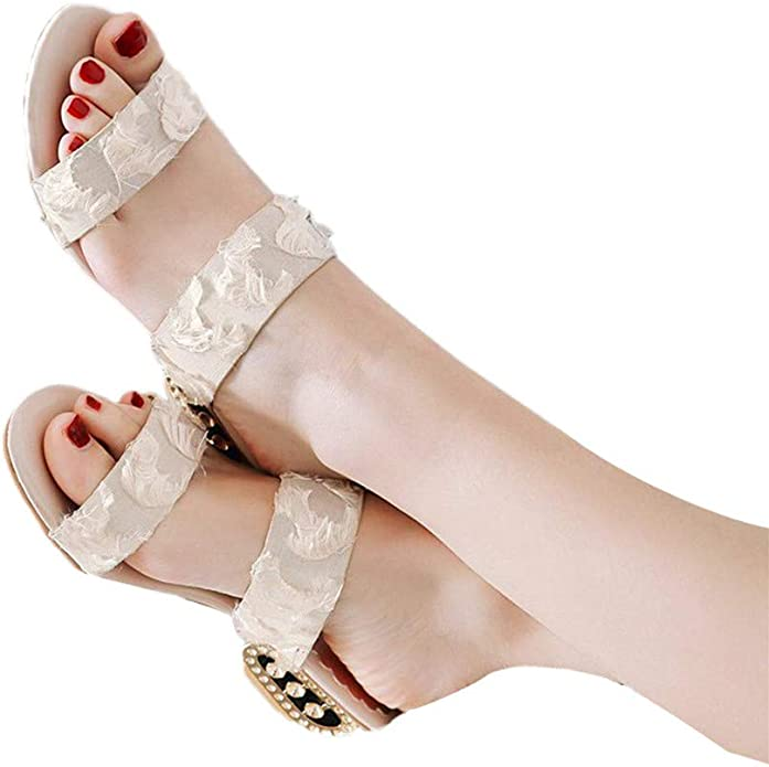 OrchidAmor Women Sandals Bohemia Shoes Wedges Shoes Rhinestone Middle Heel Sandals