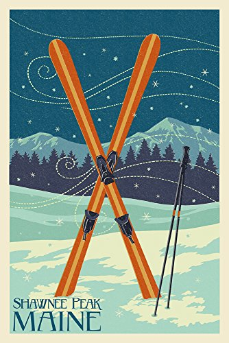 Shawnee Peak, Maine - Crossed Skis - Letterpress (24x36 SIGNED Print Master Giclee Print w/Certificate of Authenticity - Wall Decor Travel Poster)