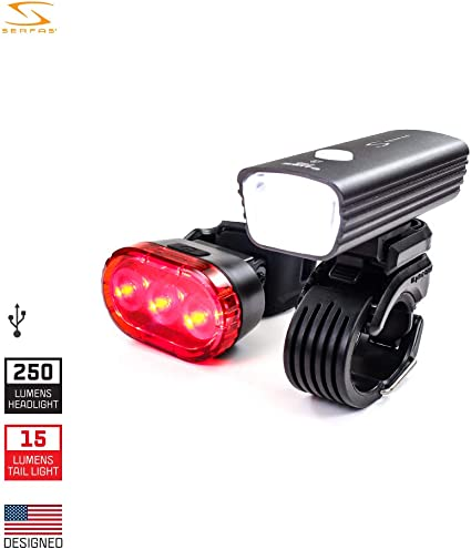 Bike Light Set Super Bright USB Rechargeable Front and Rear LED Lights by Lume