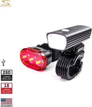Serfas E-Lume - Juego de luces para bicicleta (250/15 lúmenes ...