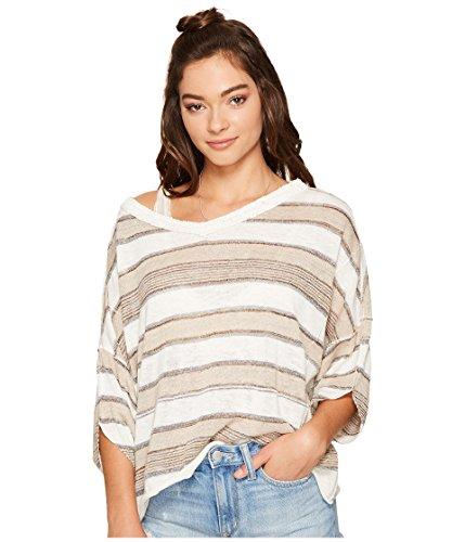Free People Womens Metallic Striped Pullover Sweater Tan S