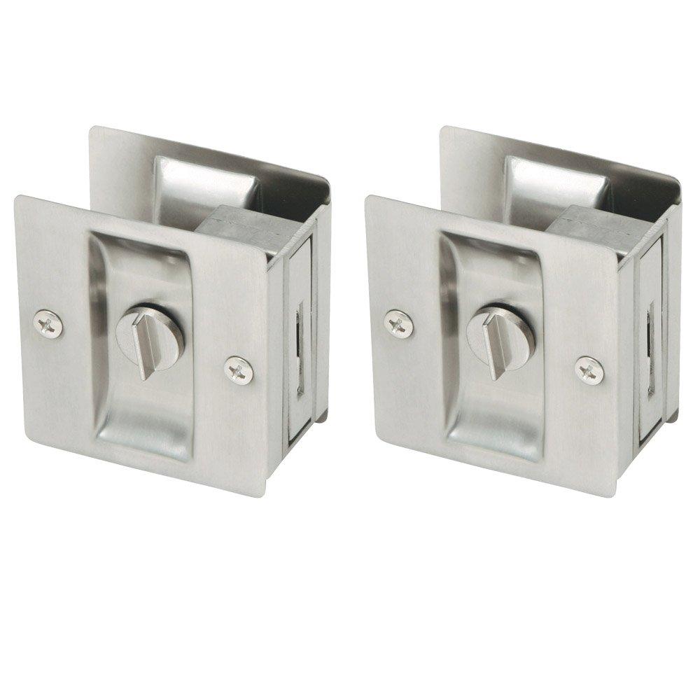 Design House 182121 Pocket Door Bed and Bath Lock, 2-Pack, Satin Nickel