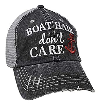 Katydid Boat Hair Dont Care Womens Distressed Grey Trucker Hat