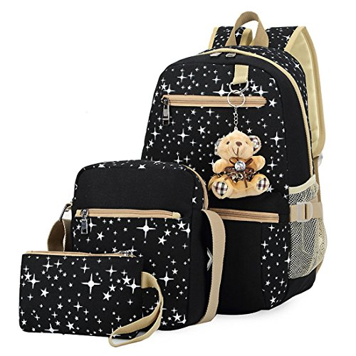 Price comparison product image 2016 Ladies Women Backpack Girl School Fashion Rucksack Canvas Travel Shoulder Bags (Black)