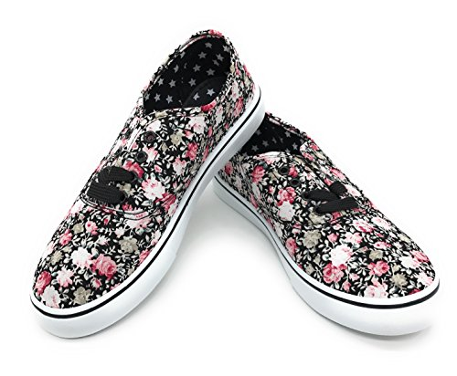 EASY21 Women Canvas Round Toe Lace Up Flat Sneaker Oxford Boat Shoe,Black Rose Floral,Size 8