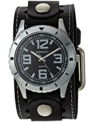 Nemesis Mens STH096K Black Collection Stainless Steel Watch with Black Leather Band