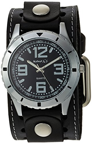 (Nemesis Men's STH096K Black Collection Stainless Steel Watch with Black Leather Band)