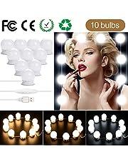 Luces de Espejo Maquillaje - Kit de 10 Bombillas LED Luz de Espejo de Tocador Estilo Hollywood Lámparas para Espejo del Baño Bombillas de Armario con 5 Tipos de Brillo Ajustables y USB Alimentado