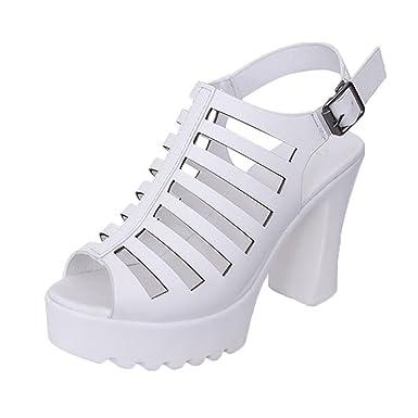 OYSOHE Damen High Heeled Sandalen Raue Hohle Römische Schuhe Wasserdichte  Sandalen Absätzen Offene Schuhe Fisch Mund cdf150e011