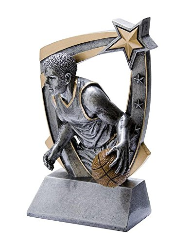 - Decade Awards  Basketball 3D Star Trophy - Male  Hoops Award | 6 Inch Tall - Customize Now