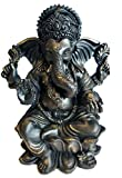 "RK Collections 6"" Lord Ganesh Statue/Ganesha Statue in Elegant Matt Black and a Touch of Brushed Bronze Finish. Premium Statue Made of Marble Powder."