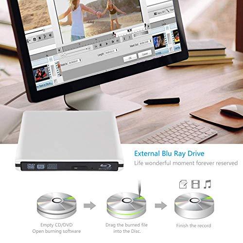 Blu Ray 4K Reproductor Grabadora DVD Externo Portatil Grabadora de Quemador Regrabadora Lector de CD DVD y Reproductor Disco para PC Windows7/8/10,Linux,Mac ...