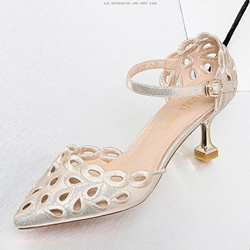 Bout Chaussures Gold De Femmes Party Chaussures Dames Court Stiletto Mariage Boucle Pointu De Mariée Talons Haute Prom OgpwqandAw