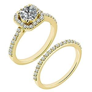 1.48 Carat G-H I2-I3 Diamond Engagement Wedding Anniversary Halo Bridal Ring Set 14K Yellow Gold