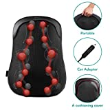 Back Massager Shiatsu Massage Chair Cushion with S-track, Deep Kneading Tissue, Thai Step Massage and Heating for Upper, Lower Back, Lumbar and Waist, Use at Home, Car, Office