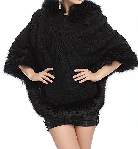 PLAER - Poncho - capa - para mujer negro