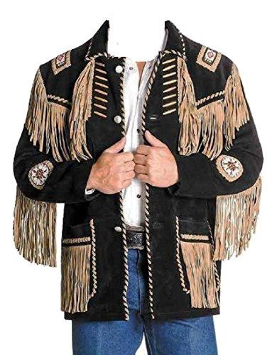 Bestzo Men Western Style Cow Suede Leather Jacket Fringed & Bones Black 3XL (Bone Fringe Jacket)