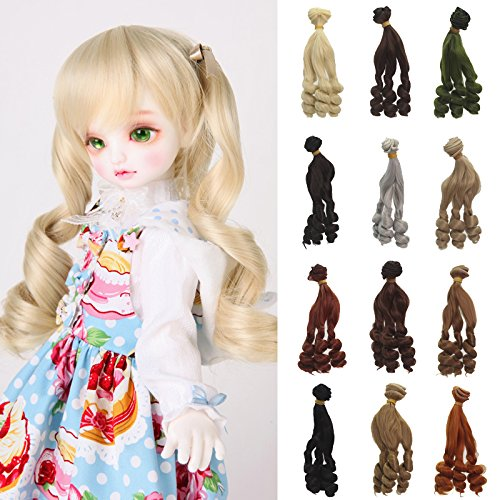 5pcs/Lot,5.90 InchX39.37Inch Synthetic Short Orange Red Deep Curly BJD Doll Wig
