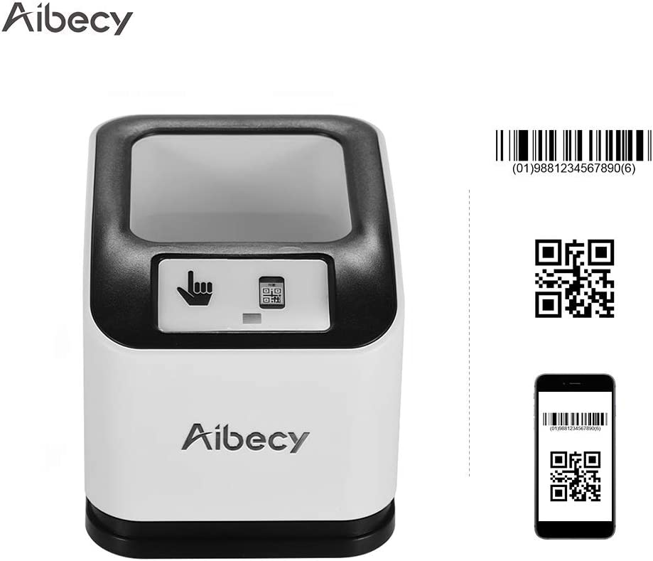 Aibecy 2200 1D/2D/QR Bar Code Scanner CMOS Image Desktop Barcode Reader USB Omnidirectional Screen Barcode Scanner