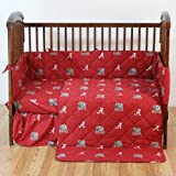 Alabama Crimson Tide - 5 Piece Crib Set - Entire Set includes: (1) Reversible Comforter, (1) Bed Skirt , (2) Fitted Sheets and (1) Bumper Pad - Decorate Your Nursery and Save Big By Bundling!