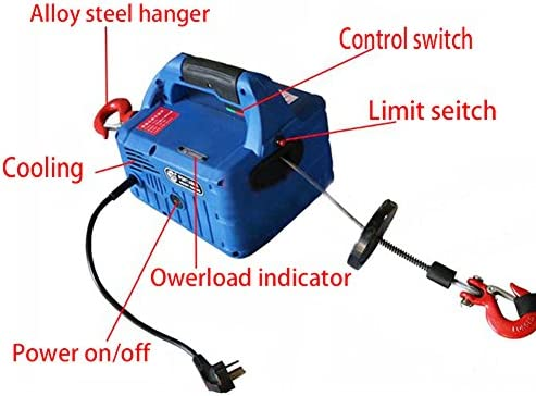 INTBUYING 992Lb X 25 Ft 110V Electric Hoist Portable Household Electric Winch Hoist Crane Lift Motor Steel Braided Cable Wireless + Cable Control