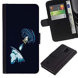 UNIQCASE - Samsung Galaxy Note 4 SM-N910 - Space Blast - Cuero PU Delgado caso cubierta Shell Armor Funda Case Cover