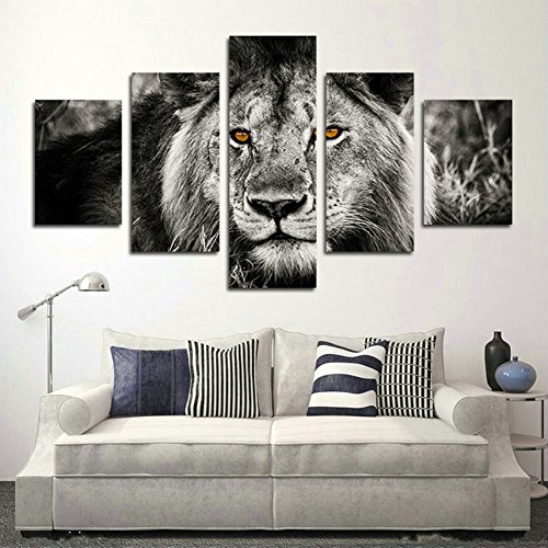 Black And White Gray Lion Head Portrait Wall Art - Lioness wall art