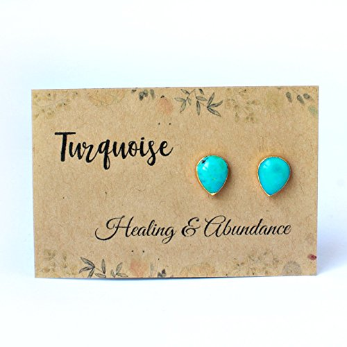 Tear Turquoise (14k Gold Plated Handmade Raw Natural Turquoise Teardrop Stud Earrings)