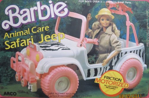 Barbie Animal Care SAFARI JEEP Friction MOTORIZED Vehicle (1987 Arco Toys, Mattel)