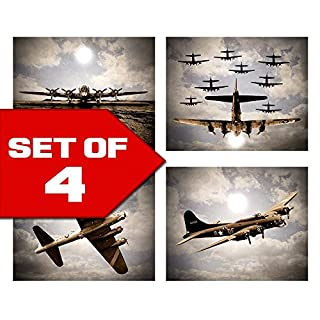 Vintage Sky Aviation Wall Art In Blue Sky Duotone Set Of Four 8x10 Airplane  Theme Decor
