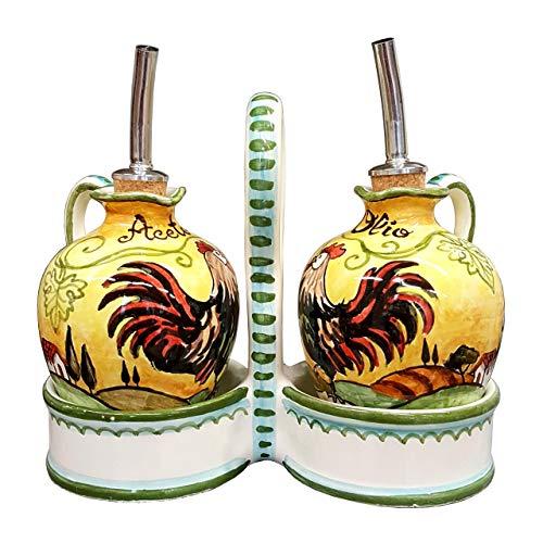 CERAMICHE D'ARTE PARRINI - Italian Ceramic Set Cruet Oil Vinegar Art Pottery Hand Painted Decorated Rooster Made in ITALY Tuscan