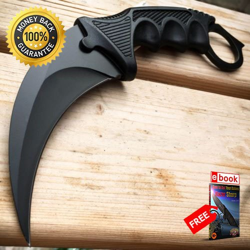 TACTICAL COMBAT KARAMBIT NECK KNIFE Survival Hunting BOWIE Fixed Blade SHEATH For Hunting Tactical Camping Cosplay + eBOOK by MOON KNIVES