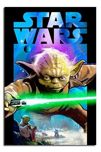 Star Wars Yoda Lightsabre Poster Gloss Laminated - 91.5 x 61cms (36 x 24 Inches)