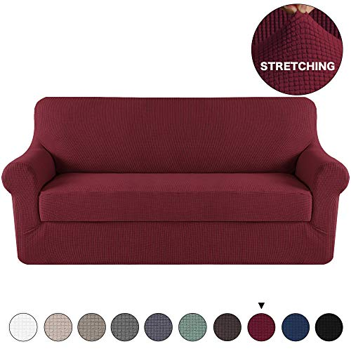 (Spandex Sofa Cover Stretch Jacquard Furniture Protector 2 Piece Couch Cover Burgundy for 3 Seat Couch Slipcover/Protector with Spandex Jacquard Checked Pattern Fabric (Sofa,)