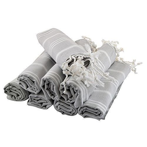 Turkish Hand Towel Set of 8 Organic Cotton Face Gym Spa Sauna Kitchen Peshtemal Towels Fast Dry Antibacterial Soft Luxury Pestemal 20 x 40 Inches, Grey White ()
