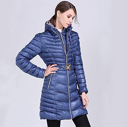 Cord Zipper Slim Double Capuche Doudoune Femmes Bleu Ultra Womens Longue Outwear Poche Léger À Poids pSFqUX