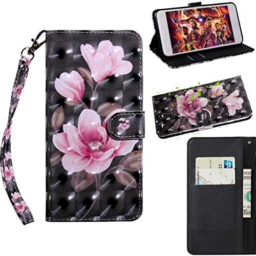 Samsung Galaxy S10 5g Case,3D Shock-Absorption Shockproof PU Leather Flip Notebook Wallet Cover with Kickstand Feature Card Holder Bumper Cover with Magnetic Closure Protective Case Black Pink Flower