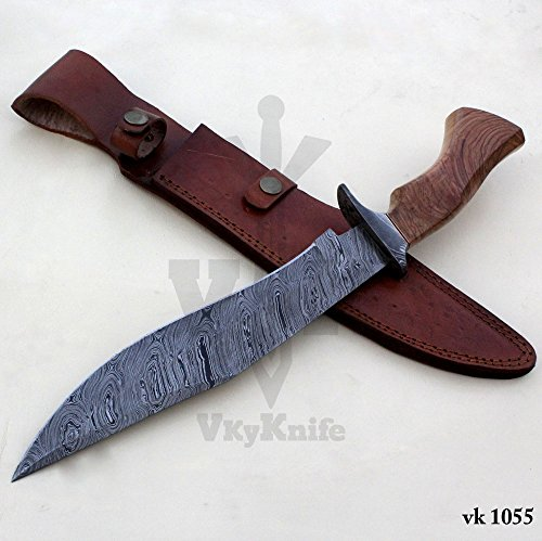 Handmade Damascus Steel Hunting Bowie Knife with Leather Sheath outdoor camping 15.50 Inches vk1055 by JNR TRADERS (Image #1)