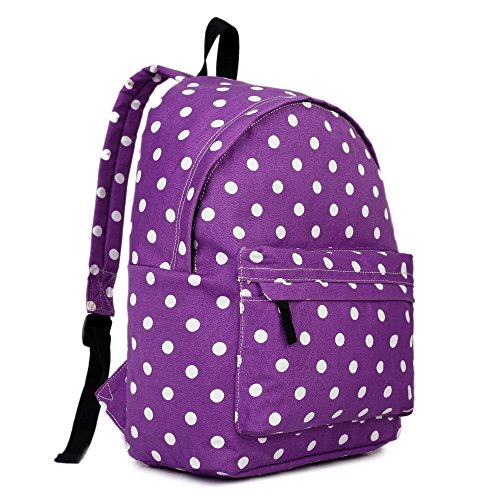Polka Purple Rucksack Fashion Canvas Dot Backpack Spot qpwAf