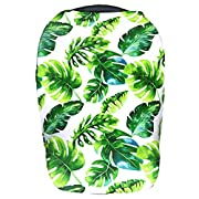 Stadela Baby Nursing Breastfeeding Cover, Car Seat Canopy, Shopping Cart, High Chair, Stroller and Carseat Cover for Boy and Girl - Stretchy Infinity Scarf and Shawl, Tropical Palm and Monstera leaves