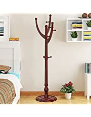Sturdy Wooden Coat Rack Stand, Super Easy Assembly NO Tools Required for Coats Hats Handbags Jackets for Entrance Corridor Bedroom Office Shelf