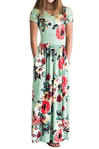 Miss Bei Girls Dresses Short Sleeves Dress Waist Long Maxi Dress Summer Long Holiday Maxi Dress with Pocket Size 4-9T (Flowe Green, 9-10Years/130cm) ()