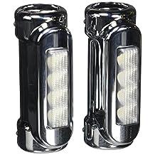 XK-GLOW XK034014-W Chrome Motorcycle Highway Bar Switchback Driving Light (White Amber LED for Crash Bars Harley Davidson Touring Bikes)