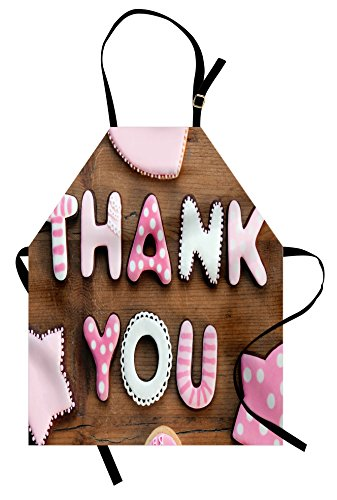 Ambesonne Thank You Apron, Romantic Sweet Cookie Letters Sug
