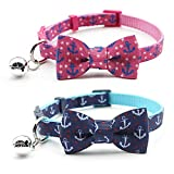 azuza Cat Collar with Bow Tie & Bell - Adjustable Safety Breakaway Cat Collars - 2 Pack