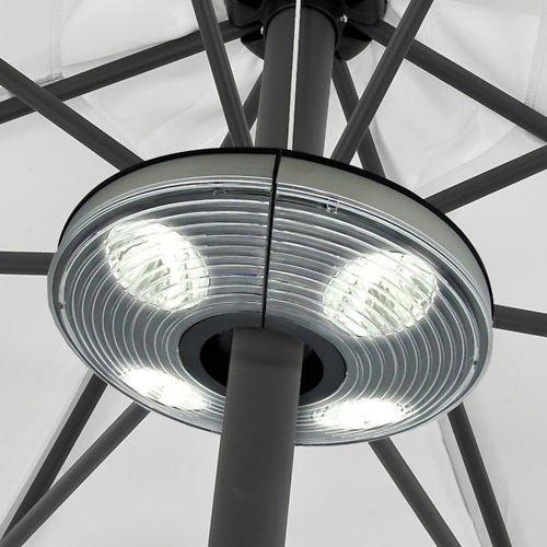 Sonnenschirmlampe mit 4 Strahlern und 16 LEDs + Aufhängehaken für die Anbringung in der Gartenlaube oder am Vordach etc.
