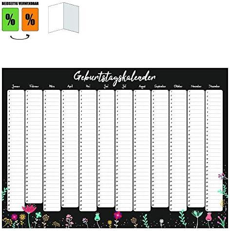 Immerwährender Kalender Geburtstagskalender Dauerkalender DIN A3 gefaltet für wichtige Tage wiederkehrende Termine Wandplaner Jahresunabhängig Hochzeitstage Happy Birthday Kalender Planer Blumen